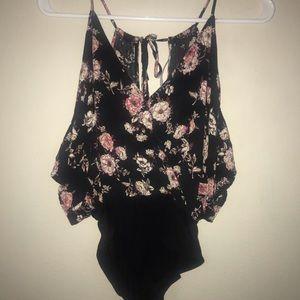 ASTR Black floral body suit